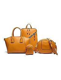 Colección Amarillo Jaguar. Mochila para mujer, Bolsa de Mano, Bolso de hombro y Charm. incluye 4 artículos.