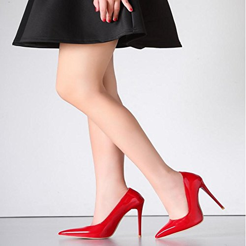 MZG Female pointed high with shallow mouth fine with red Wedding shoe patent shoes 1 Qzq2au9HJy