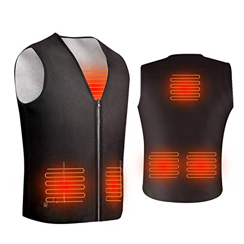 ISOPHO Heated Vest, Heated Jacket Powered by USB Port, Lightweight Fleece Vest, 5 Heating Pads at Abdomen Back & Waist, 3-Gear Temp, V-Neck, Two Pockets, Zipper Closure, Powerbank is not Included from ISOPHO
