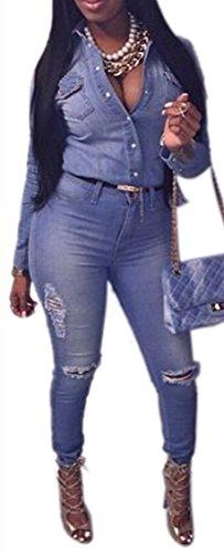 Anlarach Women Sexy Long Sleeve Cowboy Denim Hole Jeans S...