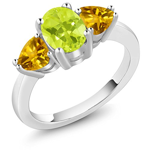Lemon Citrine Ring (1.92 Ct Oval Yellow Lemon Quartz Yellow Citrine 925 Sterling Silver 3 Stone Ring)