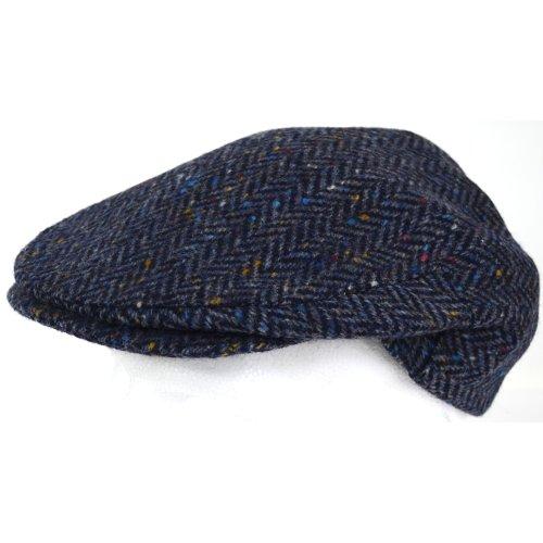 Mens Shooting / Flat / Peak Cap. 100% Pure new Wool. Made in Irish Woolen Mill. Blue Herringbone. Medium (Blue Tweed Wool)