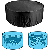 Garden Round Furniture Cover UCARE Outdoor Waterproof Large Round Table Cover Balcony Courtyard Oxford Round Table and…