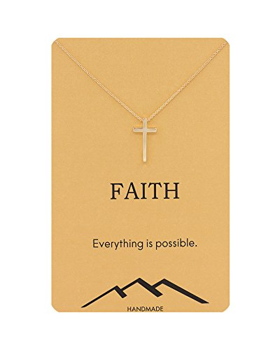 Zealmer Gold Cross Necklace Religious Crucifix Pendant Necklace with Faith Reminder Card