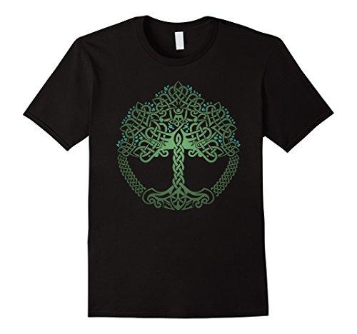 Mens VIKING CELTIC KNOTWORK TREE OF LIFE T-SHIRT 2XL Black