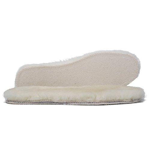 WOBAOS Sheepskin Replacement Insoles -Unisex Cozy Warm Thick Fleece Wool Insoles([1 pair] White, 8 D(M) US Men)