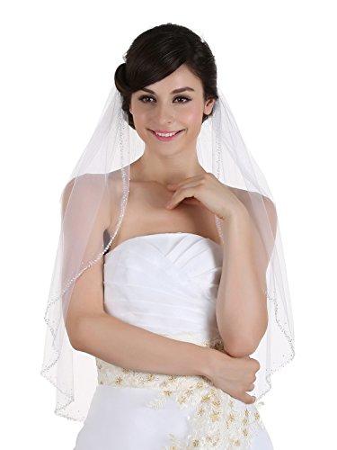 1T 1 Tier Hand Sewn Pearl Beaded Edge Veil – Ivory Elbow Length 30″ V283