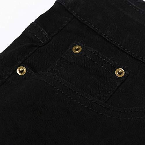 Strappati Uomo Streetwear Estate Casual Moda Ufige Traspirante Pantaloni Sottile Sfilacciati Nero Leisure Elasticizzati Lunghi Ragazzo Jeans Nne Od55qZw
