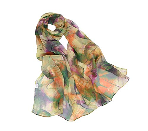 Print Silk Feeling Scarf Fashion Scarves Lightweight Sunscreen Shawls for Women (Leaves&Green)