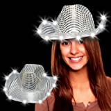 Loftus International Glitz, Glitter and Bling Glitzy Silver Sequin Cowboy Hat with LED Lights