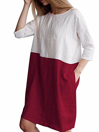 (Famulily Women's Plus Size 3/4 Sleeve Two Tone Colorblock Loose T-Shirt Dresses Wine M)