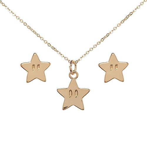 Bioworld Super Mario Star Necklace and Earrings - Mario Star Super