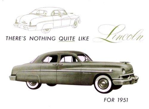 - 1951 LINCOLN PASSENGER CARS COLOR DEALERSHIP SALES BROCHURE - Includes Sport Sedan and 6-Passenger Coupe