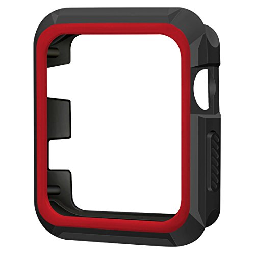 Apple Watch Case, iitee 42mm Rugged Slim Protective iWatch Case for Apple Watch Series 3/2/1 – Polycarbonate + Soft TPU Bumper (Black/Red)