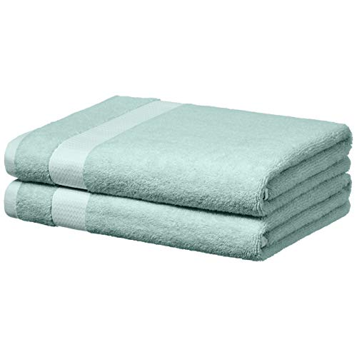 AmazonBasics Everyday Bath Towels, Set of 2, Calm Blue