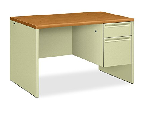 "HON 38000 Series Right Pedestal Desk - Single Pedestal Small Office Desk, 48"" W, Harvest/Putty (H38251)"