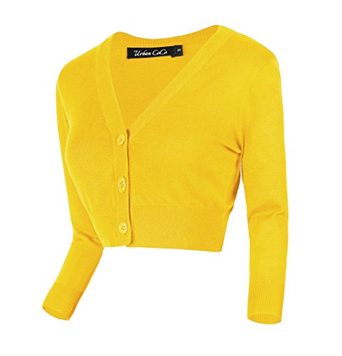 Urban CoCo Women's Cropped Cardigan V-Neck Button Down Knitted Sweater 3/4 Sleeve (XL, Lemon Yellow)