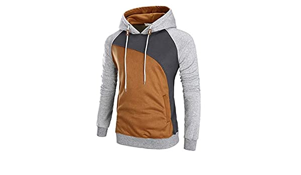 Jotebriyo Men Long Sleeve Plus Size Relaxed Fit Contrast Casual Pullover Hoodies Sweatshirt