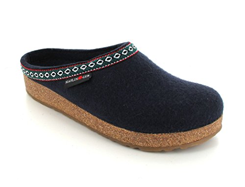 Haflinger Unisex GZ Classic Grizzly  Clog,Navy,44 EU/Women's 13 M US/Men's 11 M US (Mens Boiled Slippers)