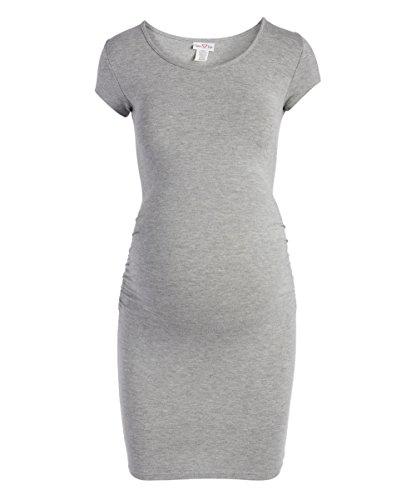 Rumor Has It Maternity Short Sleeve Scoop Neck Ruched Sides Bodycon Dress (Medium, Grey)