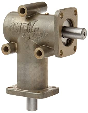 """Andantex R3000 Anglgear Right Angle Bevel Gear Drive, Universal Mounting, Single Output Shaft, 2 Flanges, Inch, 3/8"""" Shaft Diameter, 1:1 Ratio, .34 Hp at 1750rpm"""