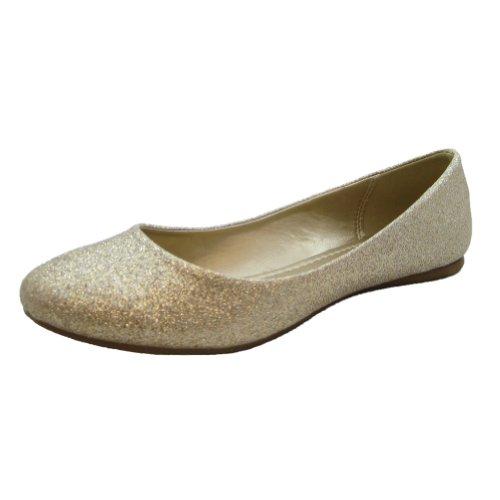SODA Fun & Feminine Glittery Lt.Gold Simple Elegant Round Toe Ballet Flats