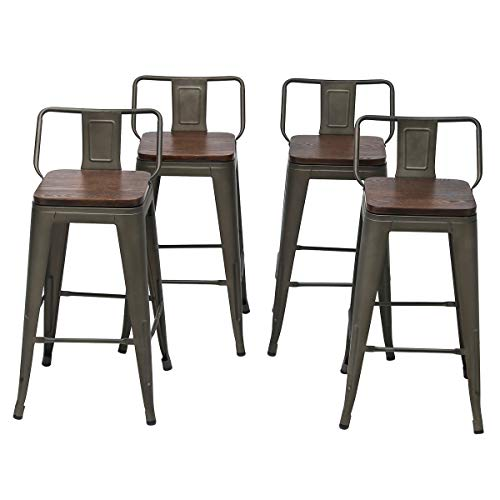 Changjie Furniture 26 Inch Swivel Metal Bar Stools Kitchen Counter Barstools Low Back Set of 4 (26 inch, Swivel Low Back Rusty Wooden) (Wooden Swivel Counter Stools)
