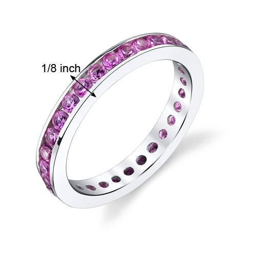 1.50 Carats Created Pink Sapphire Eternity Ring Sterling Silver Sizes 5 to 9
