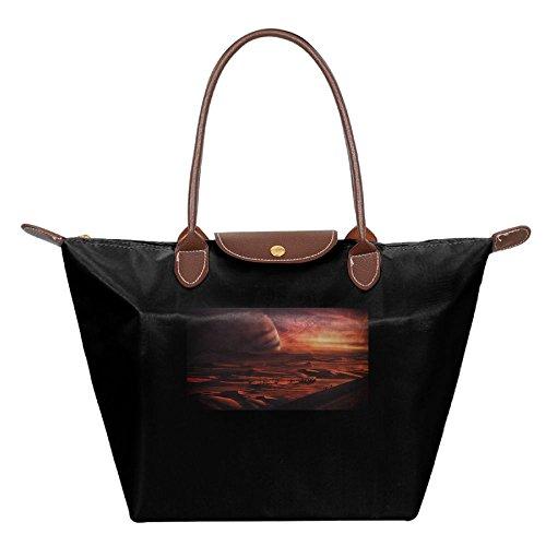 Folding Dumpling Bag Top Handle Handbag Women's Satchel Shoulder Shopping Gripesack Desert Art Nylon - Erie Pa Shopping
