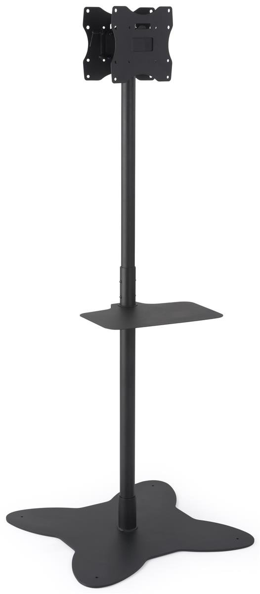 Displays2go Floor Standing Mount for Two TVs, Versatile Bracket Position, AV Shelf, Steel Construction – Black (EMDPD2642)
