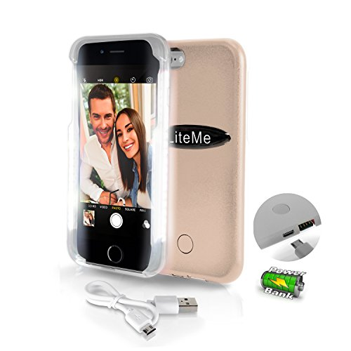 Serene Life SLIP101GD iPhone 6, 6S Selfie Case-Durable LED Illuminated Flashing Light for Instagram Snapchat with Power Bank Phone Charger, Gold