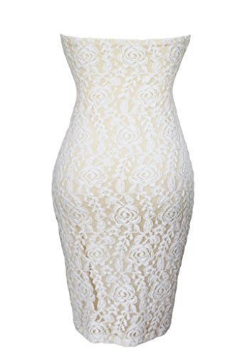 Bigood Robe de Soirée Bustier Femme Dentelle Mini-robe Fendue Mariage
