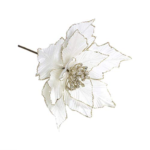 Shan-S Christmas Tree Artificial Flowers Decorations,Beautiful Silk Glitter Shinning Poinsettia Artificial Flower for Xmas Tree Wedding Xmas Home Front Door Wreath Table Ornaments (Prices Poinsettia)