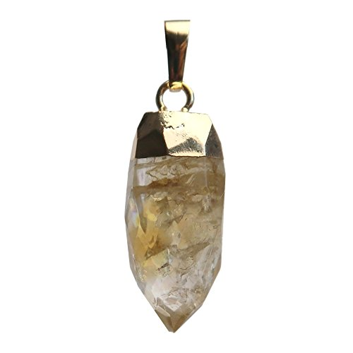 SatinCrystals Citrine Pendant Boutique Faceted Yellow Brilliant Genuine Gemstone Point Charm B01 ()