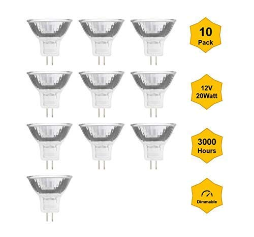10pack MR11-12V-20W GU4 Professional Halogen Reflector/dichroic Bulbs, for Indoor Outdoor spot Lights Garden Lights Landscape Lights