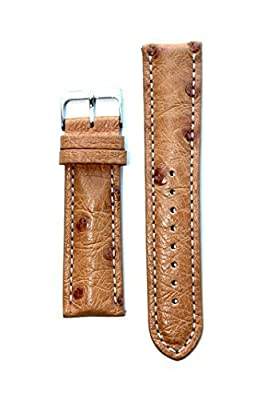 22mm Tan Genuine Ostrich Breitling Style Watchband with Contrast Stitching Made in Italy by Toscana