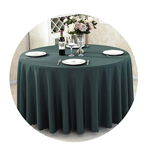 (COOCOl Round Tablecloth Camping Table Cloth Linen Hotel Party Wedding Tablecloth Dining Coffee Table Cover,Dark Green,Round 220Cm)