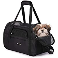 "Soft Sided Pet Carrier Comfort 17"" for Airline Travel, Portable Dog Tote Bag for Small Animals, Cats, Kitten, Puppy, Black"