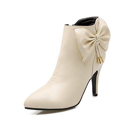 AllhqFashion Damen Eingelegt Spitz Zehe Reißverschluss Stiefel mit Beschlagene Strass, Cremefarben, 41