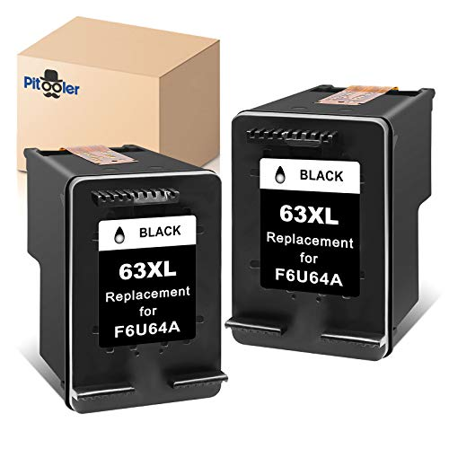 Pitooler Remanufactured Ink Cartridge Replacement for HP 63XL 63 XL Black to Use with Envy 4520 3634 OfficeJet 3830 5252 4650 5258 4655 4652 5255 DeskJet 3636 1111 3630 1112 3637 3632 Printer, 2-Pack