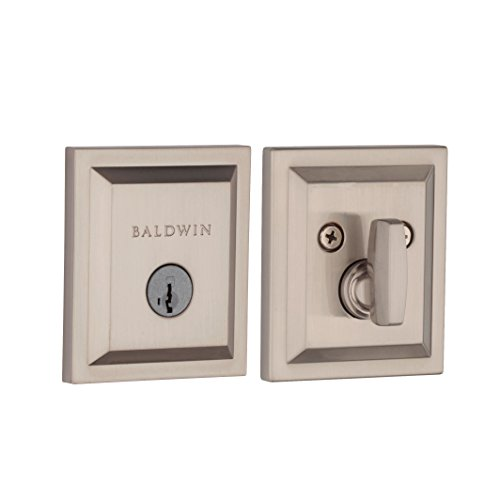 Baldwin Prestige Torrey Pines Square Low Profile Single Cylinder Deadbolt Featuring SmartKey in Satin Nickel