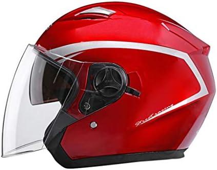 NJ ヘルメット- 電動バイクヘルメットの男性と女性の四季ユニバーサル防曇ヘルメット (色 : 赤, サイズ さいず : 34x26x25cm)