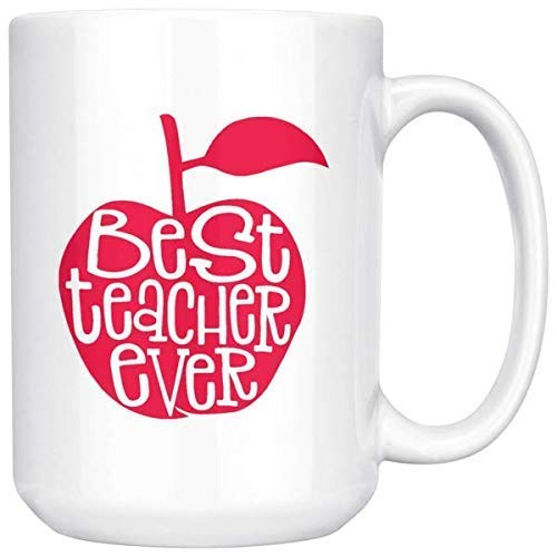 Best Teacher Ever Apple Coffee Mug for Women - Unique Fun Gifts for Teachers, Educators, Coworkers Under $20 - Handmade Coffee Cups & Mugs with Quotes, 15 (Best Teacher Apples)