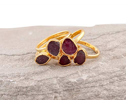 Raw Ruby 14K Gold Plated Electroformed Silver Size 7 Ring Gemstone Women Jewelry July - Cabochon Ruby