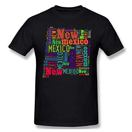 (Xinjinhon Men's State Map New Mexico NM Word Cloud Short-Sleeve Crewneck Lightweight Casual T-Shirt Tee Black)
