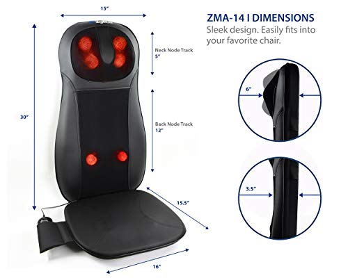Zyllion Shiatsu Neck and Back Massager Cushion Pad with Soothing Heat Function - Fits Perfectly on Chair - 3 Massage Styles - Rolling, Spot, and Kneading (Black)