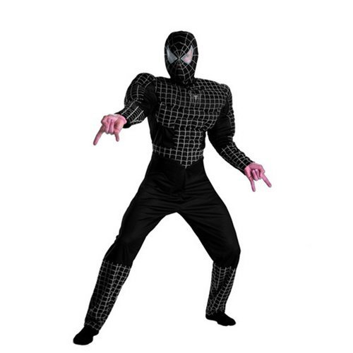 Black Spiderman Costumes For Adults (Deluxe Adult Black Muscle Chest Spider-man Costume)