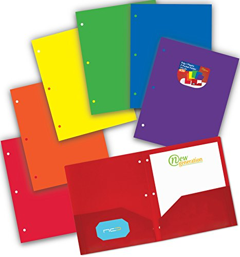 New Generation - ASSORTED - 6 PACK 2 Pocket Poly/Plastic Folder, Heavy Duty Folders For Letter Size Papers, Includes Business Card Slot Plastic Folders have durable, (6 Pack Assorted With Holes) by New Generation