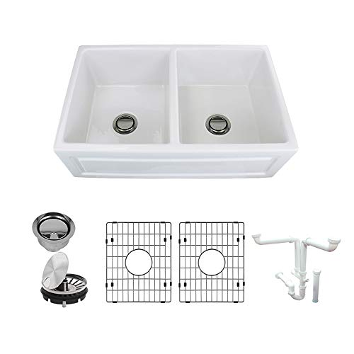 Transolid K-FUDH332010 Versailles Fireclay Undermount Reversible French/Plain Equal Double Bowls Farmhouse Kitchen Sink Kit 32.67