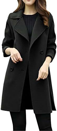 Overcoat for Women Casual Autumn Winter Jacket Casual Outwear Parka Cardigan Slim Coat Overcoat Fashion Tunic